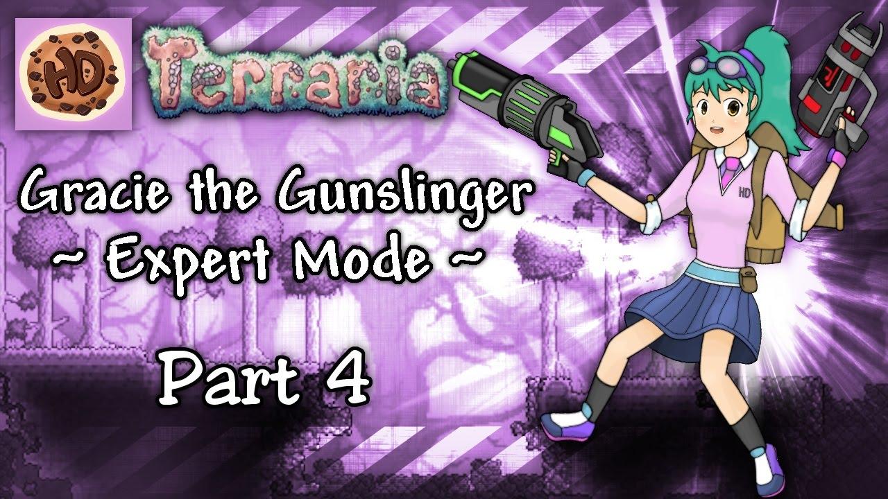 Terraria 13 Expert Gunslinger Part 4 New Base Gracie Vs Brain Of