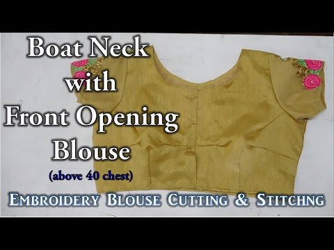 Boat Neck with Front Opening Blouse | 4 Dart Blouse | Above 40 Chest thumbnail