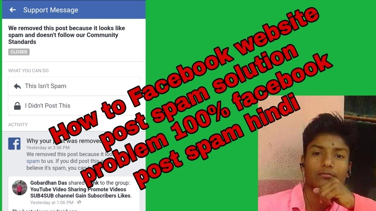How to Facebook website post spam solution problem 100% facebook post spam  hindi