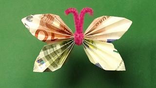 Repeat youtube video Geldscheine falten, Geldgeschenke: Schmetterling