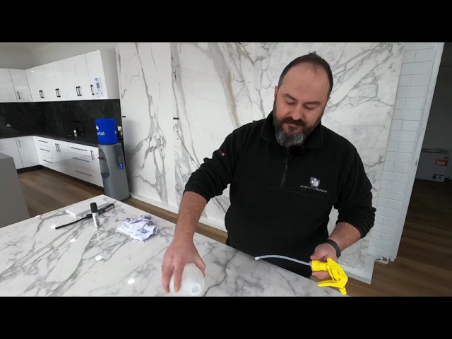 Kemal does a permanent marker test. Porcelain Vs Engineered Stone