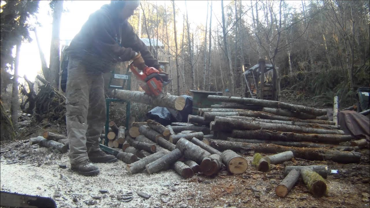 Cutting Firewood On A Smart Holder Log Holder Youtube