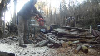 Cutting Firewood On A Smart Holder Log Holder