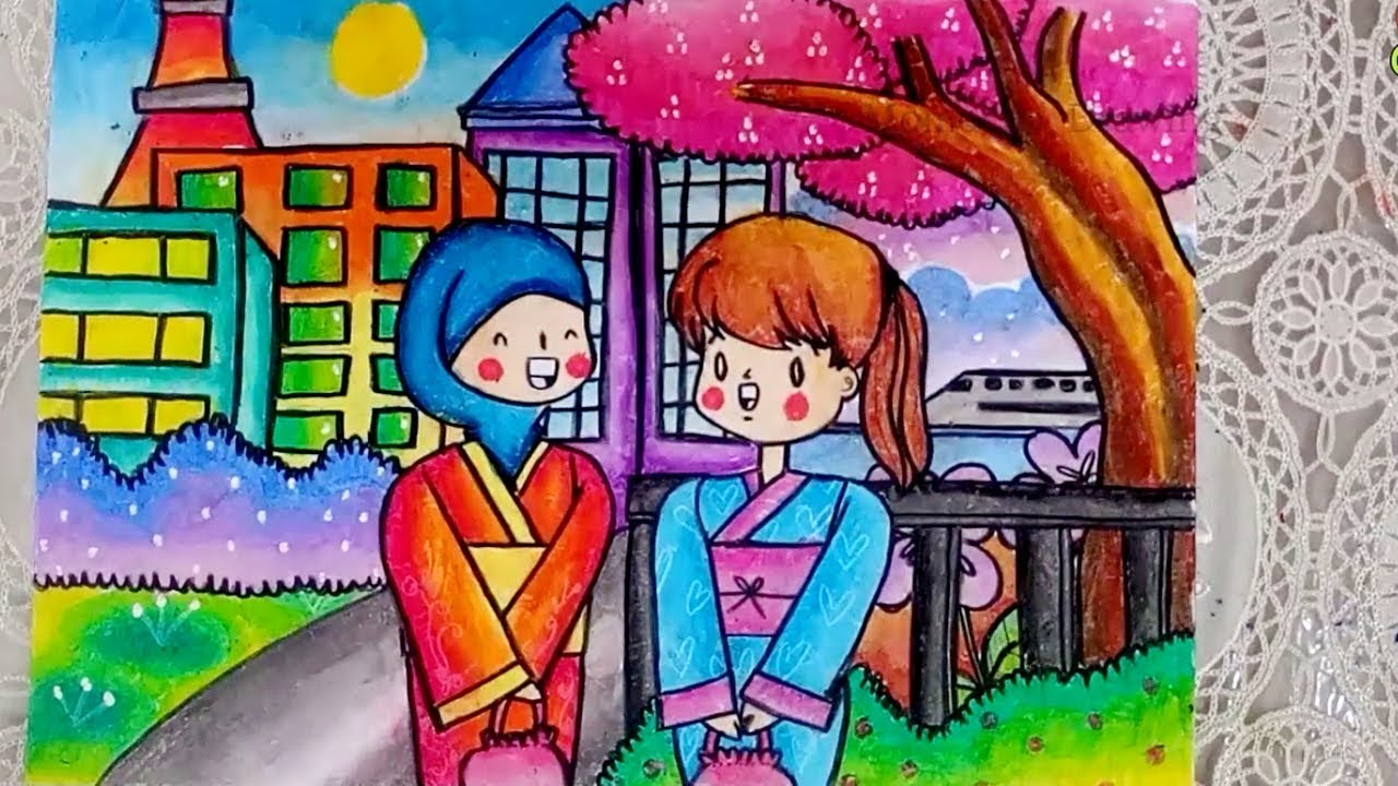 How To Draw Girls With Kimono In Tokyo Japan Step By Step EASY For Kids