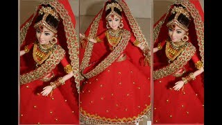 DIY/Indian Bridal lehnga Making for Barbie Doll/Designer Bridal Dress/Jewelry making at home..