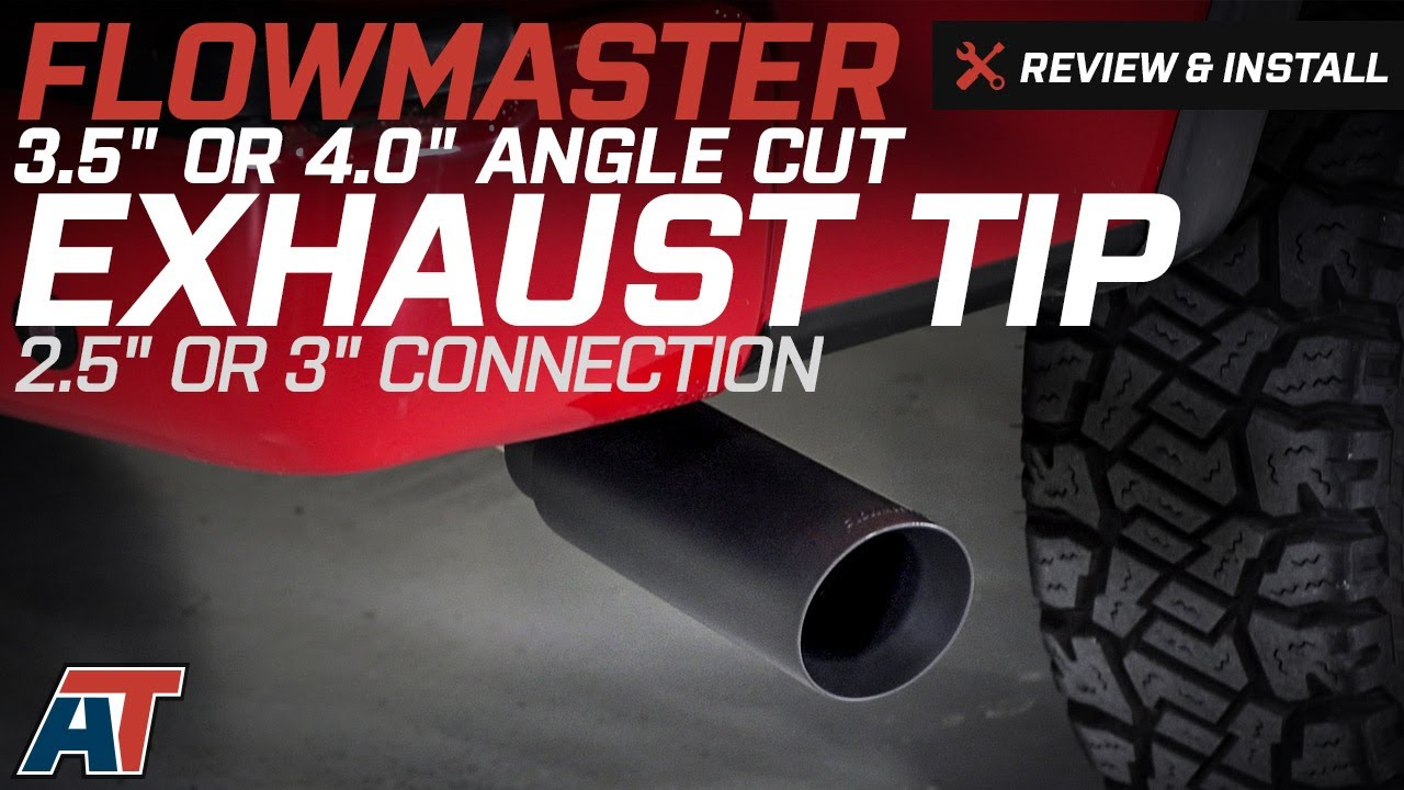"""Flowmaster 15397B Universal Black 3.5/"""" Clamp On Round Angle Cut Exhaust Tip"""