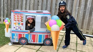 Deema and Sally Pretend Play Selling Ice Cream