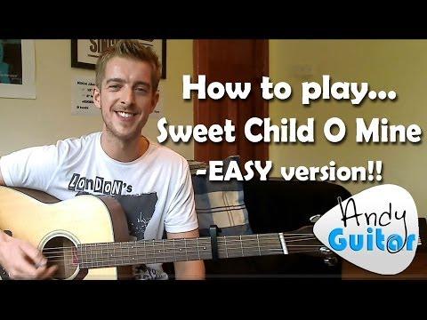 Sweet Child O Mine Guitar Lesson Guns n Roses - EASY BEGINNERS CHORDS VERSION!