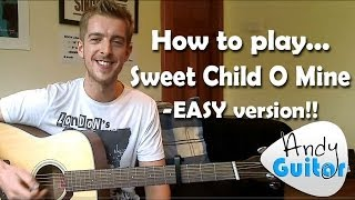 Sweet Child O Mine Guitar Lesson Guns n Roses - EASY BEGINNERS CHORDS VERSION!