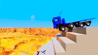 Truck Stairs Jumps Down in Canyon | Brick Rigs
