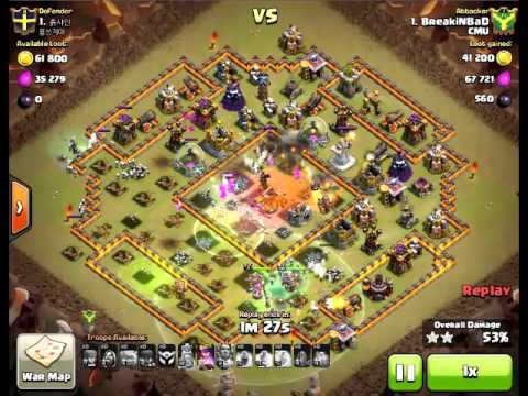Clash Of Clans Clan War TH11 Vs TH11 3 Star Attack With Mass Witch Level 3