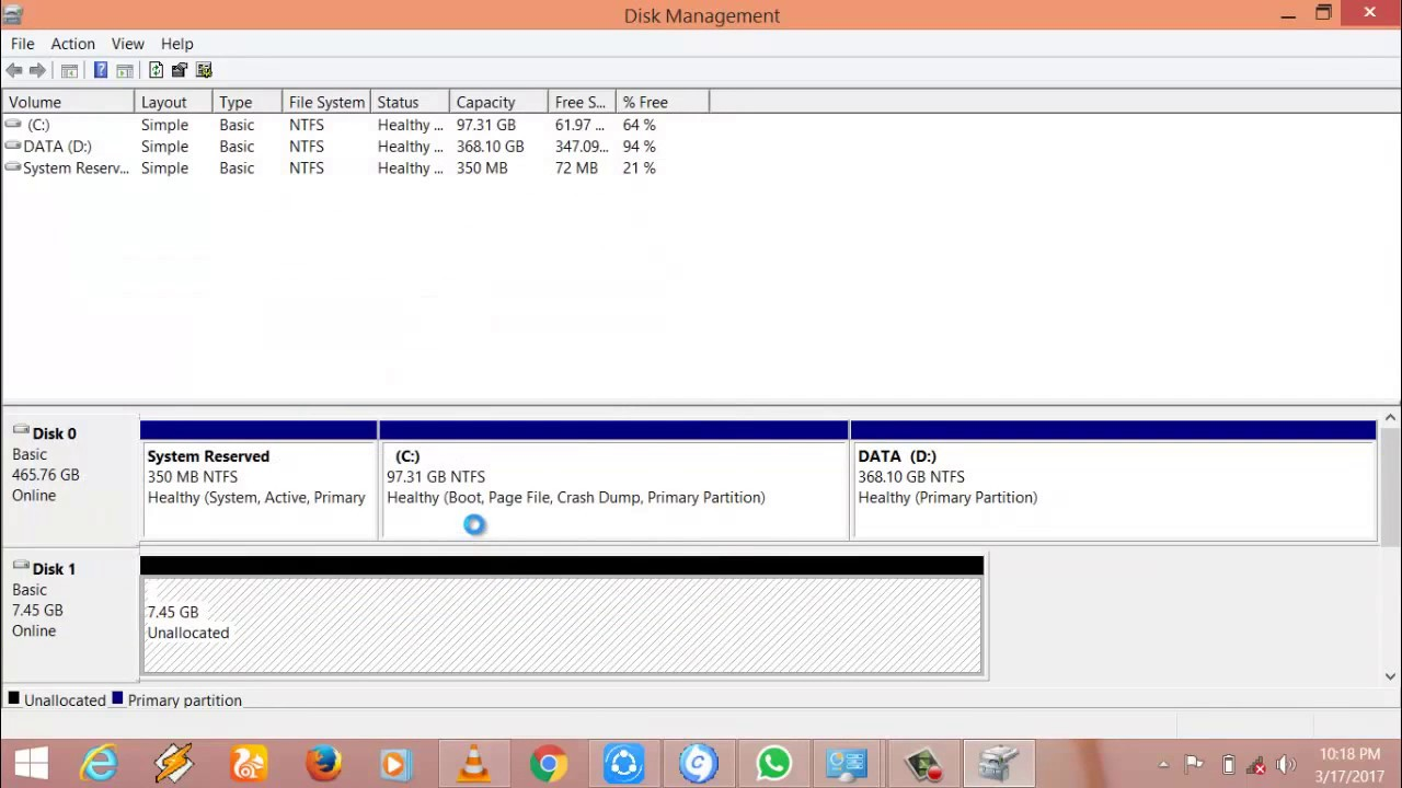 hard drive has 2 unallocated space