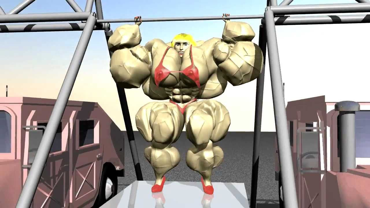 3d animation of female bodybuilder lifting 2 humvee's !!! - youtube