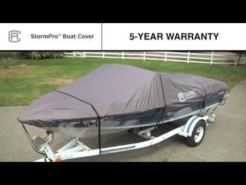 Classic Accessories StormPro Heavy Duty Boat Cover   Charcoal  Fits     Classic Accessories StormPro Heavy Duty Boat Cover   Charcoal  Fits  14ft 16ft  V Hull Fishing Boats