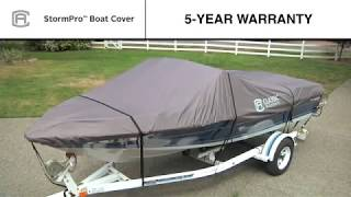 Classic Accessories StormPro Heavy-Duty Boat Cover - Charcoal, Fits 14ft.16ft. V-Hull Fishing Boats