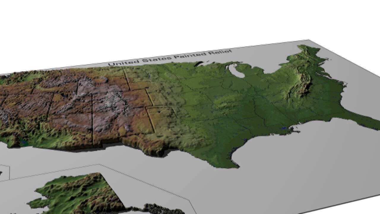 Usa Painted Relief Map Youtube