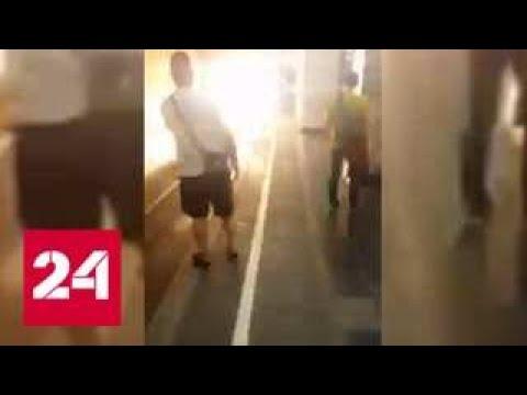 Возгорание на зеленой ветке московского метро попало на видео