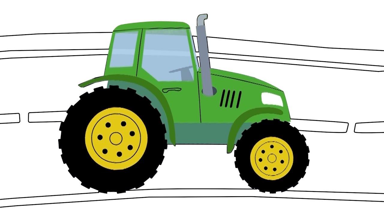 Раскраска видео трактор для детей