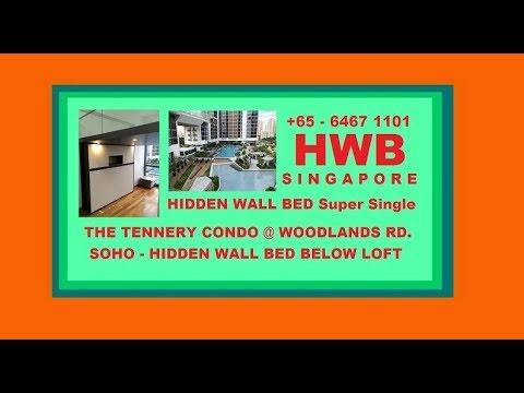 The Tennery Condo.SOHO. HWB-H1080 S.Single+Top Cabinets.HDB,BTO,EC,DBSS-Wallbed,Hiddenbed,BED