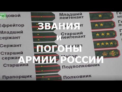 Военные звания и погоны в армии России по возрастанию по порядку от рядового до генерала ВС РФ
