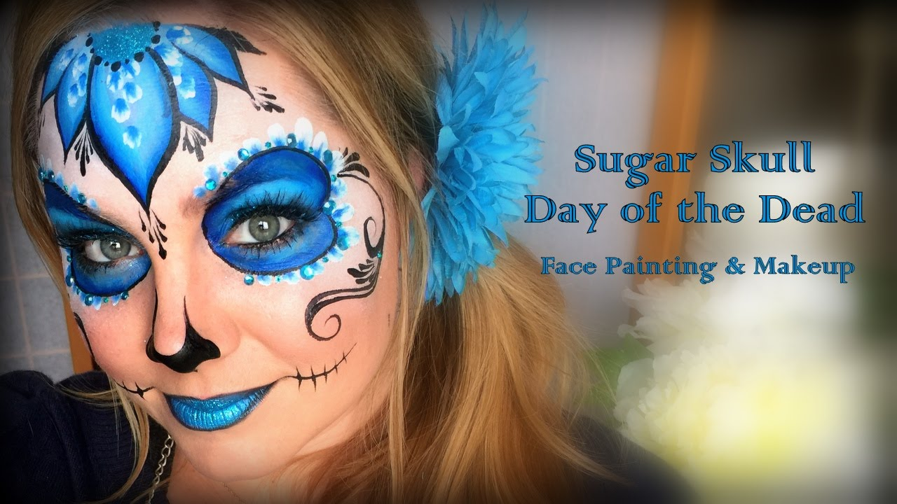 Pretty and Easy Sugar Skull Makeup and Face Painting - YouTube