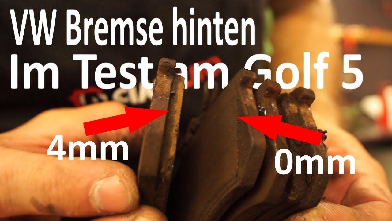 golf 5 bremse hinten wechseln und schadensbeobachtung youtube. Black Bedroom Furniture Sets. Home Design Ideas