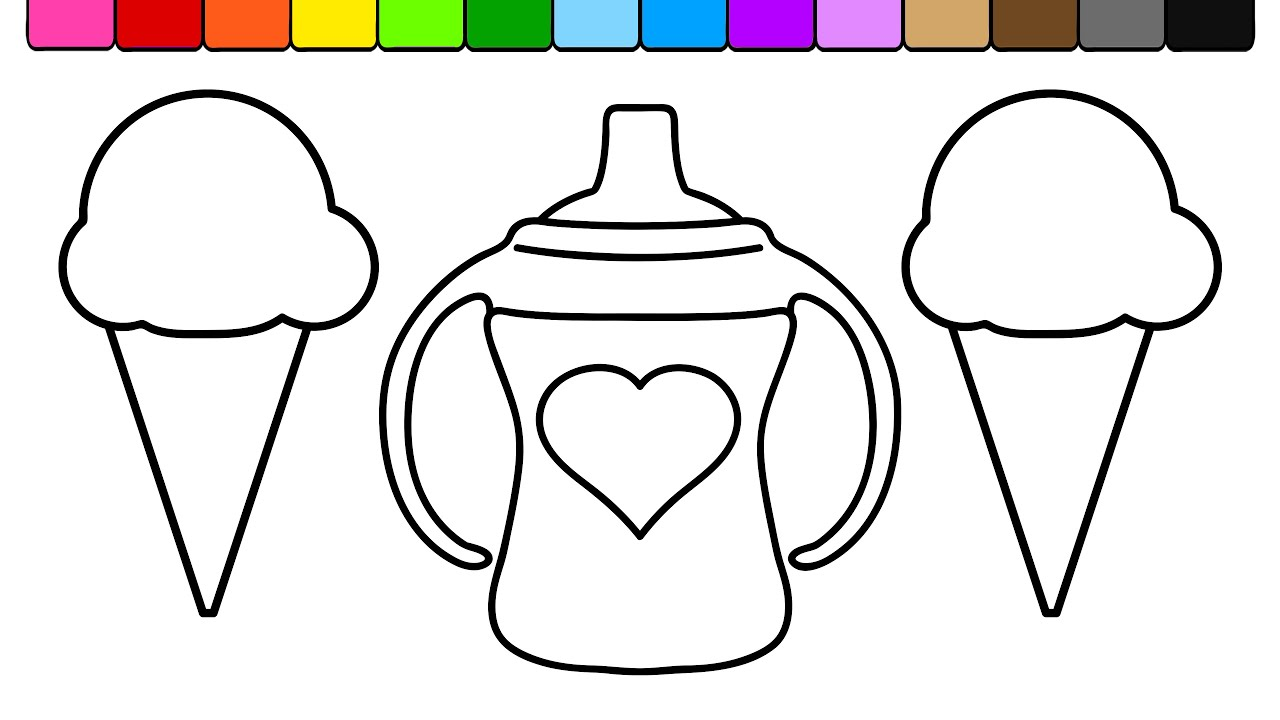 learn colors for kids and color ice cream sippy cup coloring page