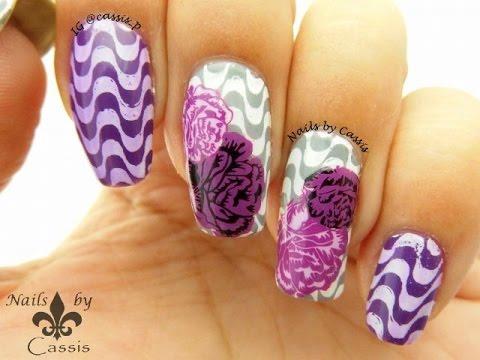 purple rose stamping nail art