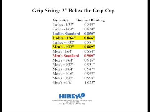 Golf Club Grip Sizing Charts Part 2 Of 6 Youtube