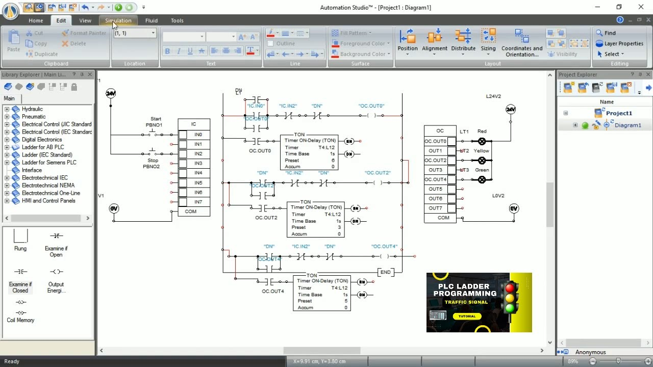 traffic signal plc ladder programming complete project popular plc rh youtube com impulse relay in simatic ladder logic control of traffic light ladder  [ 1280 x 720 Pixel ]