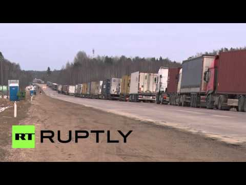 Latvia: Russian trucks pile up at Latvian border ahead of Woman's Day