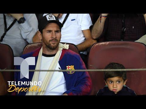Messi y su hijo Thiago apoyaron al Barcelona | UEFA Champions League | Telemundo Deportes