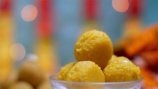 A bowl of bundi ladoo / ladu (Indian Sweet) prepared for Diwali (Indian Festival)