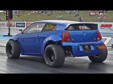 1800HP Twin Engined VW Lupo At Santa Pod Raceway
