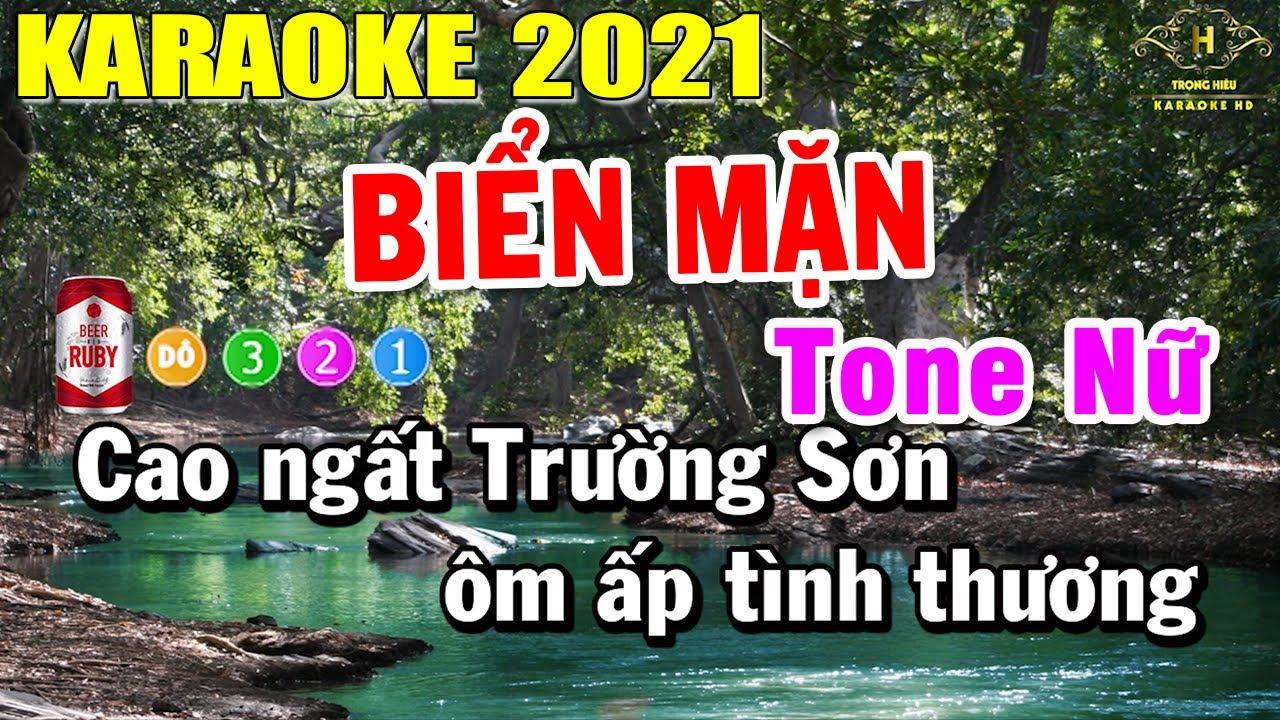 Biển Mặn Karaoke Tone Nữ Nhạc Sống 2021   Trọng Hiếu