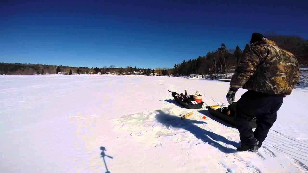 Ice fishing march 6 2014 warners lake ny youtube for Free fishing license ny