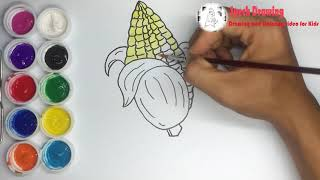 How to Draw and Coloring a Corn Step by step