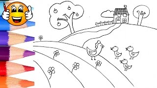 Coloring Pages for Kids Farm House Chickens || Coloring for Kids | Bibabibo