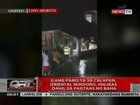 QRT: Ilang pamilya sa Calapan, Oriental Mindoro, inilikas dahil sa pagtaas ng baha