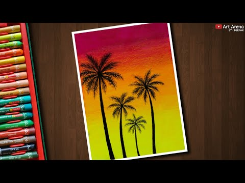 Happy Palm Trees drawing for beginners with Oil Pastels