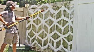 Pressure washing a PVC fence - Satisfying!!