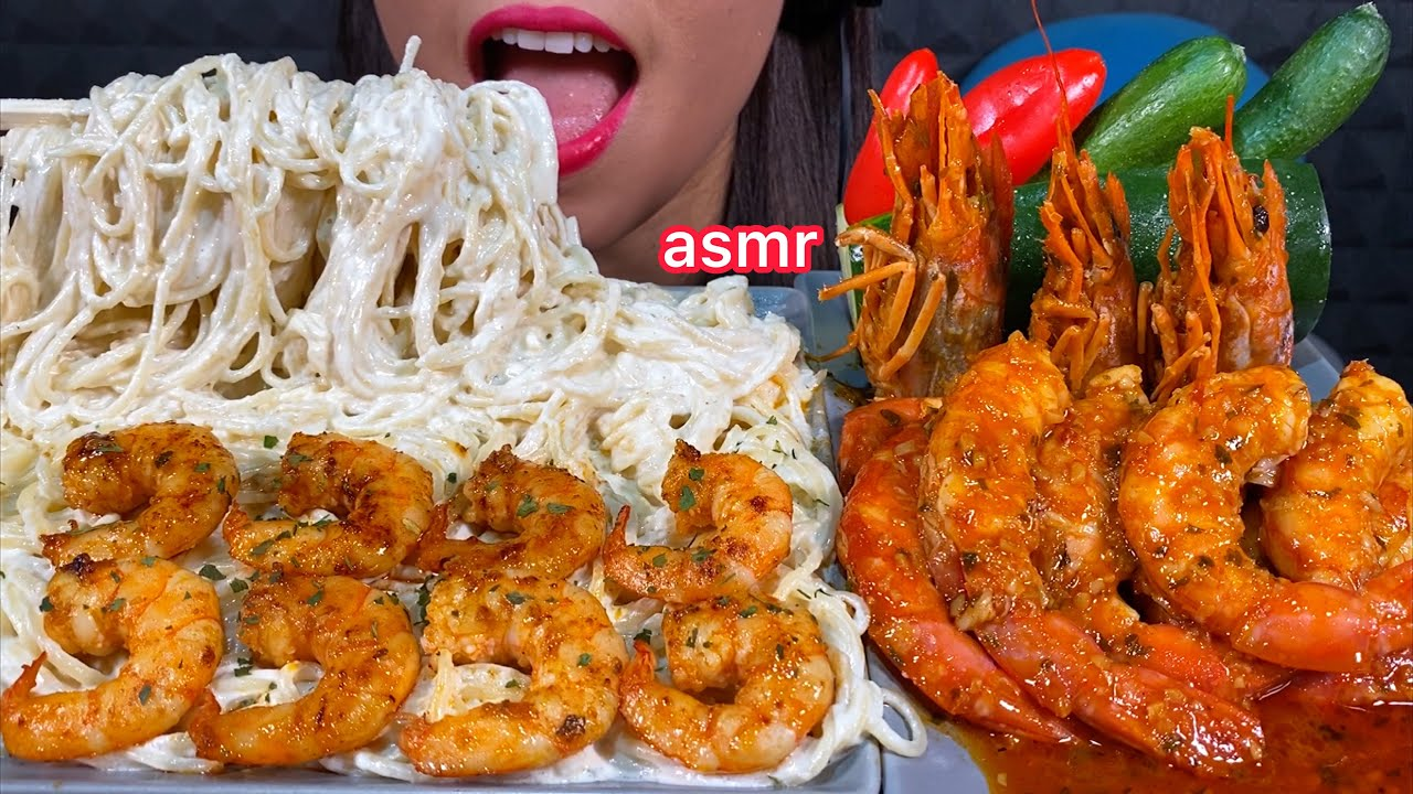 ASMR EATING SPAGHETTI ALFREDO SPICY GARLIC BUTTER SHRIMP SWEET PEPPER & CUCUMBER 먹방 Sounds