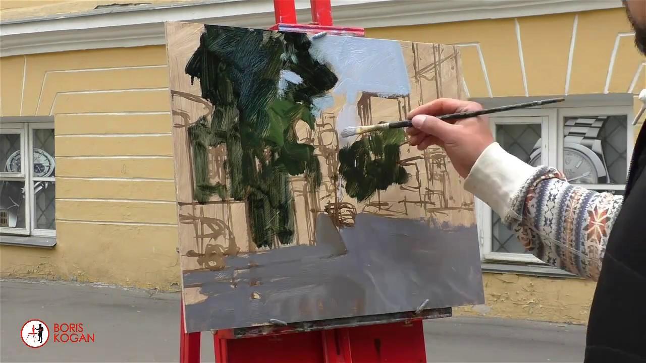 Денежный переулок. Утро. Москва 11/06/2017. Картина маслом. Пленэр
