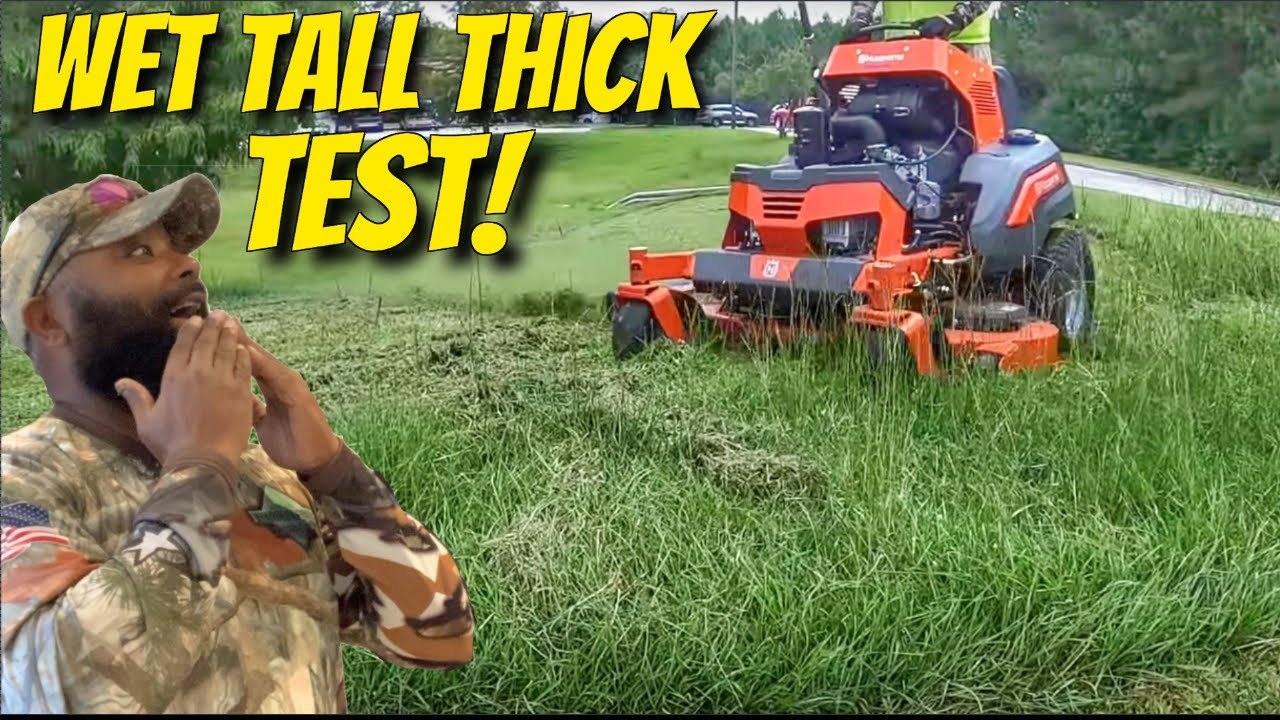 Can the Husqvarna V554 mow through Thick & Tall Grass without bogging down?