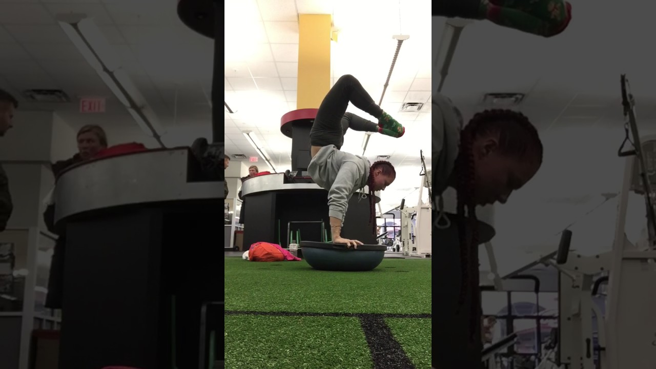 32f02afc568a Woman Does Scorpion Push Ups on Balance Ball - YouTube