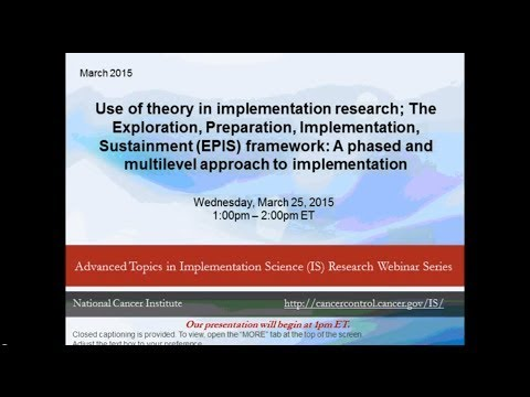 Use Of Theory In Implementation Research: The EPIS Framework