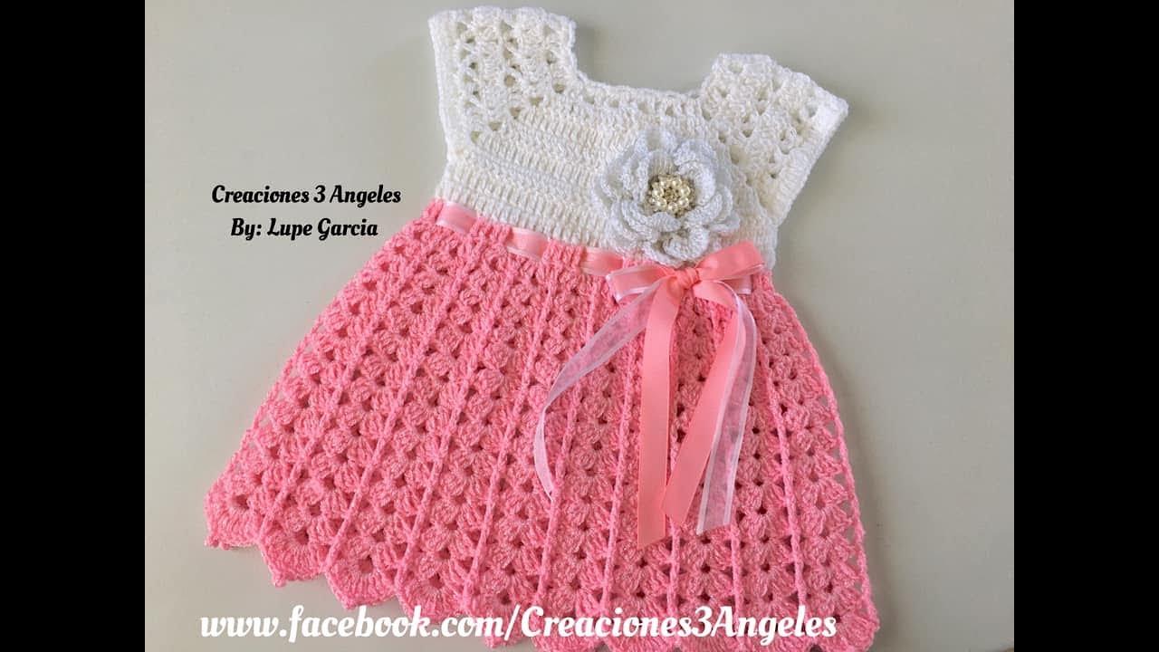 Download Cómo hacer vestido tejido a crochet de 0-3 meses.
