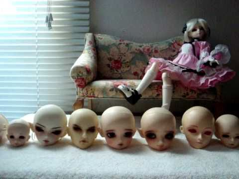 comparing bjd heads - YouTube