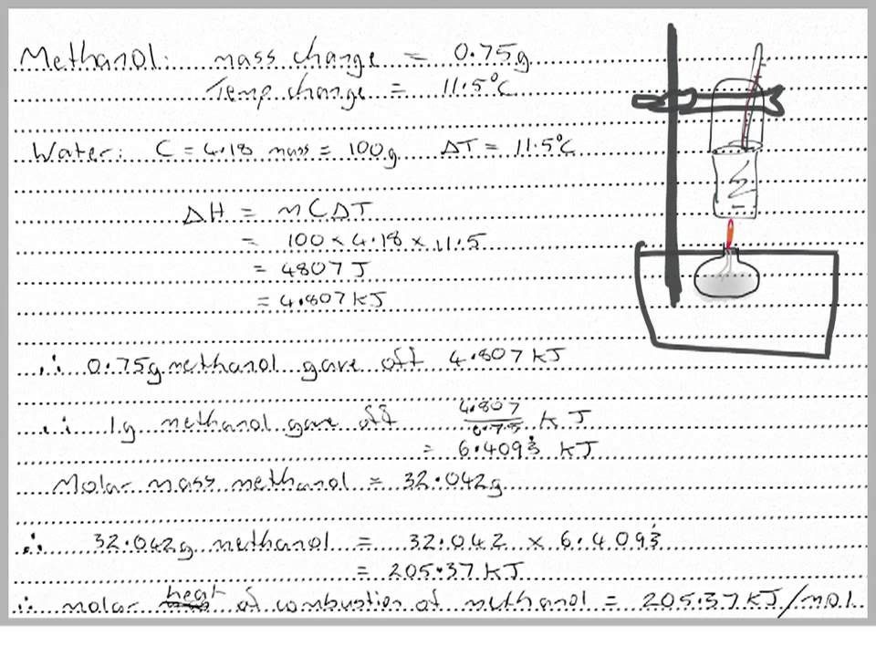 Molar heat of combustion calculation