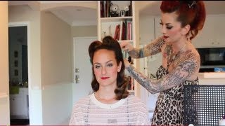 Vintage hair victory rolls on curly hair with no bangs by CHERRY DOLLFACE